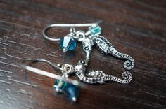 Sterling silver and pewter seahorse, Swarovski Crystal and cube seed bead earrings
