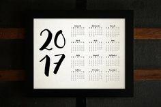 2017 Printable Cursive Calendar, One Page Calendar, Letter-Sized, 11x14, PDF, JPEG
