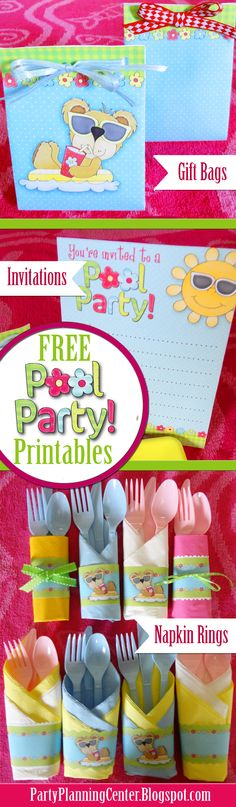 #FREE Printable Pool Party Invitations, Napkin Rings and Gift Bags