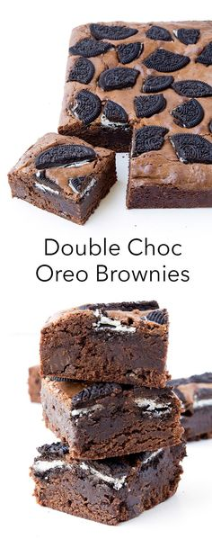 These are the BEST brownies ever! Everyone loves them! And they're so easy to make - one bowl brownies topped with heaps of Oreo cookies and chocolate chips! | DebbieNet.com