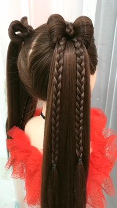 Lil Girl Hairstyles, Bun Hairstyles For Long Hair, Braided Hairstyles, Toddler Hairstyles, Girl Hair Dos, Baby Girl Hair, Medium Hair Styles, Long Hair Styles, Crazy Hair Days