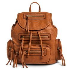 Women's Solid Backpack Handbag with Zippers and Tassels - Tan