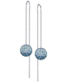 Swarovski Silver-Tone Blue Crystal Pave Fireball Threader Earrings