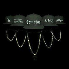 The hats of each member of NWA Love N Hip Hop, Hip Hop And R&b, Hip Hop Rap, Rap Music, Good Music, New School Hip Hop, Estilo Cholo, Arte Hip Hop, Rapper Art