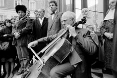 Mstislav Rostropovich playing at Andrei Tarkovsky's funeral. at the St. Alexander Nevski Russian Orthodox Church. Paris, January 1987. Photo by Gueorgui Pinkhassov.