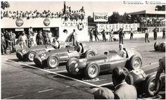 Froilan Gonzalez with Ferrari #6 and Alberto Ascari in Ferrari #2 - Italian Grand Prix in San Remo 1951