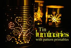 TIN CAN LANTERNS WITH PRINTABLE PATTERNS!!!  OH BOY, FUN IS.....  =)  ♥A