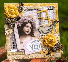 Scrap card with girl and bird.