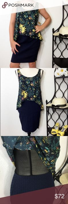 """Rachel Roy Navy Blue Floral Sleeveless Dress New Pretty navy blue, yellow and green floral, sleeveless dress with a visible gold zipper running from the bottom hip up under the arm.  The top is loose and is lined. Bust: 33""""; length from the shoulder to the bottom hem: 34 1/2"""". Measurements are approximate.  Smoke free home. 🌺Thank you for shopping my closet 😊🌺 RACHEL Rachel Roy Dresses Mini"""