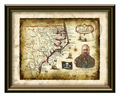 Old Map North Carolina 1718 Art,Pirate Map Stede Bonnet Art Decor,Antique Usa Map of North Carolina,Wall Art,Pirate Decor,Instant Download