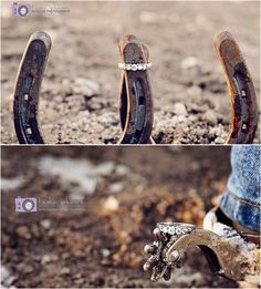 So cute! Engagement ring on horseshoe & on spur