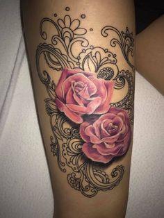 Pink Flower Tattoos, Flower Tattoo Designs, Rose Tattoos, Body Art Tattoos, Pretty Tattoos, Beautiful Tattoos, Tattoos For Childrens Names, Lace Sleeve Tattoos, Black Lace Tattoo