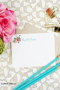 Mutli Flower Pretty Personalized Stationery from CurioPress. Custom gifts & paper goods. Click through to see more.