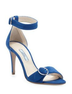 PRADA Suede Ankle-Wrap Sandal With Buckled Strap