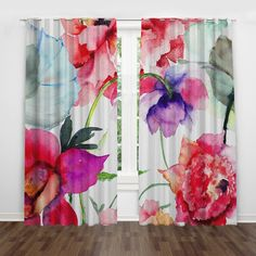 35 Amazingly Pretty Shabby Chic Bedroom Design and Decor Ideas - The Trending House Bold Curtains, Colorful Curtains, Panel Curtains, Curtain Panels, Tropical Curtains, Silk Drapes, Floral Curtains, Bedroom Curtains, Drapery