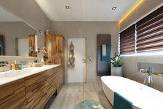 Abtauchen in der Luxuswanne Corner Bathtub, Bathroom, Lighted Mirror, Concrete Wall, Full Bath, Bathing, Washroom, Bath, Bathrooms