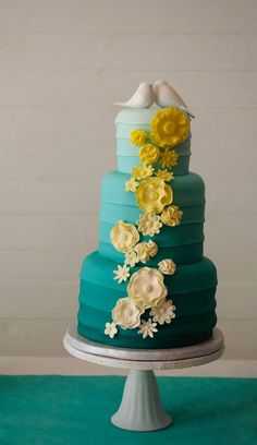 """""""Beth"""" Double ombre teal and yellow wedding cake  www.loloscakesandsweets.com"""