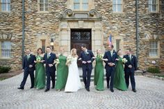 emerald dresses and navy tux/suites