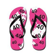 PINK 40 years old - 40th Birthday Flip Flops --- Cool, Funky, Girly, Abstract design for the hipster 40 yr old lady.    http://www.cafepress.com/+pink_40_years_old_40th_birthday_flip_flops,882378146