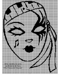 0 point de croix masque vénitien de carnaval - cross stitch carnival mask