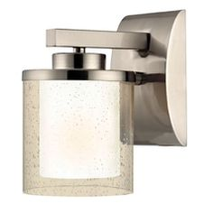 Dolan Designs Lighting Modern Wall Sconce with Clear Seedy and White Glass Shades  2956-09