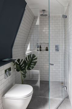 Loft bathroom - Interior Design by Imperfect Interiors at this Victorian terraced house in Balham, London A palette of contemporary Farrow & Ball paint colours mixed with traditional period details Farrow & Ball Ha Budget Bathroom, Shower Room, Bathroom Decor, Attic Bathroom, Loft Room, Loft Bathroom, Bathroom Interior Design, Bathroom Design, Loft Conversion