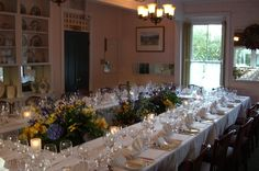 Main Dining Room set for a rehearsal dinner for 20 guests at the Depot Hotel Restaurant, Sonoma