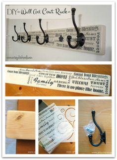 DIY- Make your own wall inexpensive art coat rack with this easy tutorial. Diy Pared, Diy Coat Rack, Coat Hanger, Coat Hooks, Wood Projects, Craft Projects, Wood Crafts, Diy Crafts, Cheap Wall Art