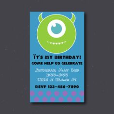 Monsters Inc Birthday Invitation Digital Download by SwankEvites, $4.99