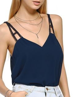 $10.43 Casual  Stylish Cut Out V Neck Tank Top For Women