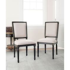 Safavieh Provincial Grey Seat Black Carved Wood Dining Room Side Chair Set Of 2
