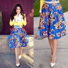 """Floral Blue Skirt Pleated Aline Skirt. Soft Feel and silky quality. Lined, zipper on side and also has elastic (stretch) on back of skirt. fits US size 0/2/4/6 SMALL/MEDIUM  Waist: 22""""-30"""" Length: 24"""" Skirts A-Line or Full"""
