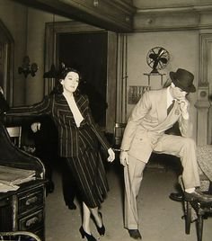 Cary Grant and Rosalind Russell on the set of His Girl Friday.  love this movie!!!