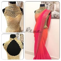 loved the blouse pattern and beautiful orange-pink shaded saree. Blouse Back Neck Designs, Sari Blouse Designs, Blouse Patterns, Dress Designs, Beautiful Blouses, Beautiful Saree, Beautiful Dresses, Indian Attire, Indian Ethnic Wear