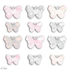 Set troquel Toga - Mariposas - Rosa, gris - 60 uds - Fotografía n°2