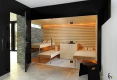 Prestige Saunas offer unique design features for your sauna or steam room. Contemporary Interior, Sauna Steam Room, Sauna Room, Sauna Seca, Sauna Design, Outdoor Sauna, Wooden Room, Spa Rooms, Bath
