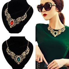 Luxury New Women's Lady Gold Plated Crystal Hollow Out Flower Pattern Choker Bib Necklace Red Green Hot Selling-in Choker Necklaces from Jew...