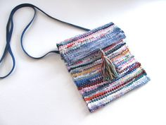 Artisan Woven Fabric Crossbody Hand Bag, Eco Recycled Upcycled Zero Waste Wallet Phone Purse, Blue R