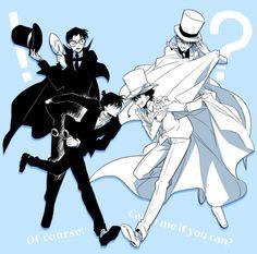 kaito kid y shinichi kudo Magic Kaito, Ran And Shinichi, Kudo Shinichi, Conan Comics, Detektif Conan, Anime Guys, Manga Anime, Detective Conan Shinichi, Kaito Kuroba