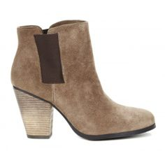 Taupe ankle bootie: just the right heel height