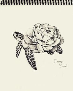 Tattoo, sketch , flowers ,turtle , by Emma Small #EmmaSmall More