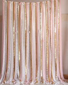 Pink white Lace Gold Sparkle photobooth backdrop Wedding ceremony stage,birthday,baby shower backdrop party curtain nursery decor the backdrop is made with high quality elastic lace trimming,very soft, its also perfect to be used as curtain. Washing method:Hand wash More backdrop: https://www.etsy.com/shop/SilverDrawer?ref=hdr_shop_menu Perfect for: **Special Events - Wedding ceremony stage,bridal shower, baby shower, birthday parties, graduations, retirement parties...