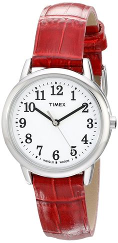 Timex Women's TW2P687009J Easy Reader Silver-Tone Watch with Red Leather Band * You can find more details by visiting the image link.