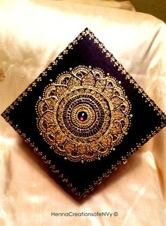 Midnight Black Gold Lotus Keepsake Jewelry Box with Gem Stones