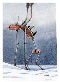 Robot 1. Original, acuarela y tinta. A la venta en yojimbocomics.com