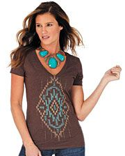 Wrangler® Ladies' Aztec Print V-neck Tee