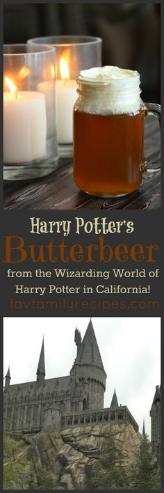 Our Version of Harry Potter's Butterbeer tastes just like what they sell at the Wizarding World of Harry Potter in Hollywood! Our Version of Harry Potter's Butterbeer tastes just like what they sell at the Wizarding World of Harry Potter in Hollywood! Harry Potter Party Food, Harry Potter Drinks, Harry Potter Bday, Harry Potter Halloween, Harry Potter Recipes, Harry Potter World Butterbeer Recipe, Butterbeer Recipe Universal, Harry Potter Events, Easy Butterbeer Recipe