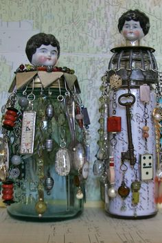 Cool idea using German doll heads for a whimsey jar doll. Found Object Art, Bottles And Jars, Glass Bottles, Junk Art, Assemblages, Key Holders, China Dolls, Tape Measure, Recycled Art