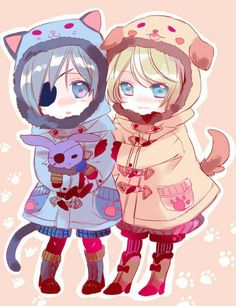 Ciel, Alois, cute, chibi, cat jacket, suit, outfit, dog jacket, bunny stuffed toy; Black Butler