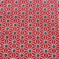 Tissu de coton japonais Saki - Motif Asanoha rouge & blanc
